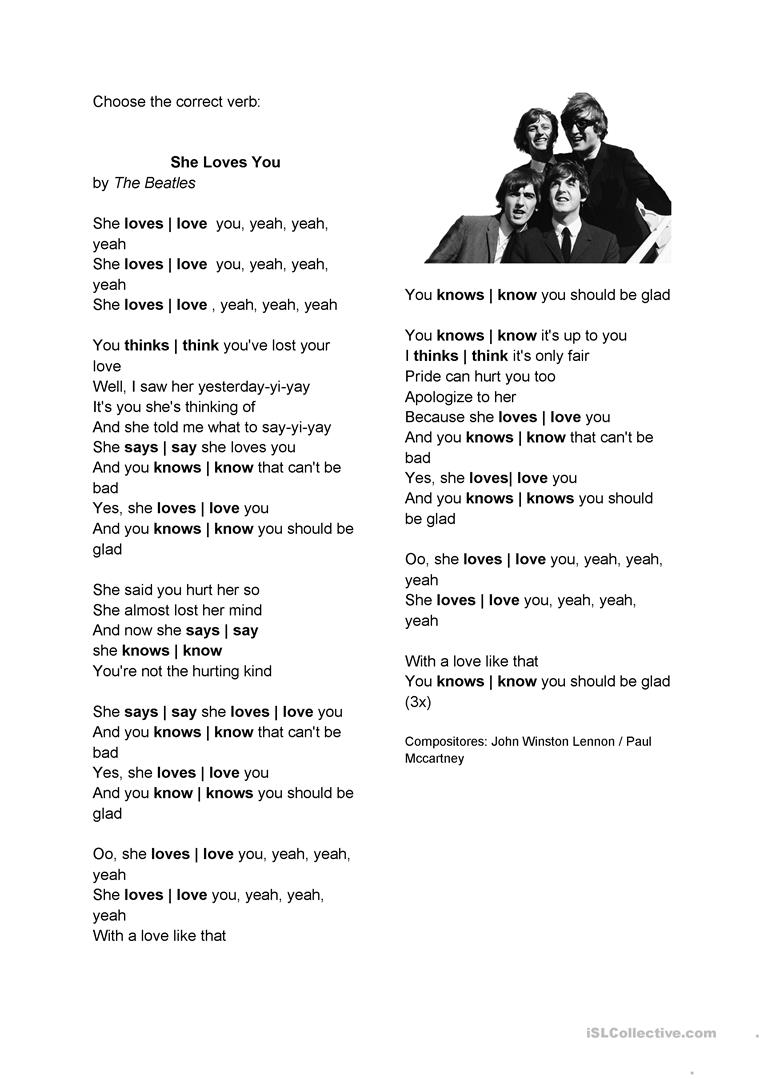 She Loves You Simple Present English Esl Worksheets For Distance Learning And Physical Classrooms