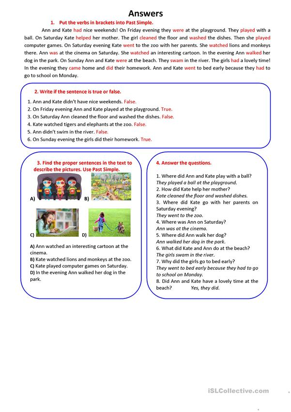 A NICE WEEKEND (PAST SIMPLE: Regular And Irregular Verbs) - English ESL  Worksheets For Distance Learning And Physical Classrooms