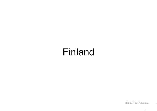 Finland flashcards and coloring worksheet
