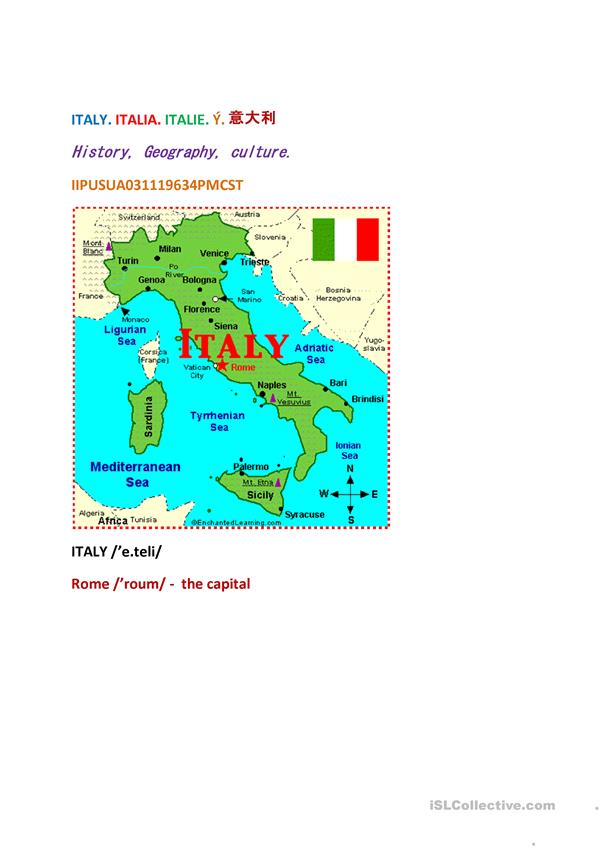 ITALY: GEOGRAPHY, HISTORY, CULTURE