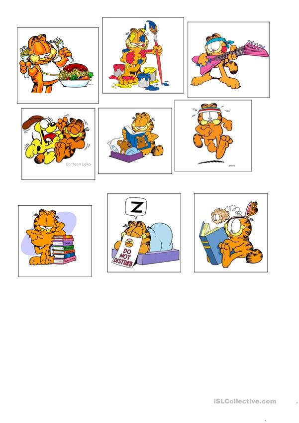 Present Continuous Garfield English Esl Worksheets For Distance Learning And Physical Classrooms