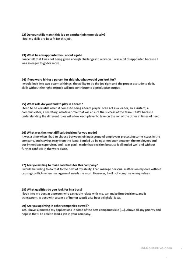hr interview questions and answers worksheet