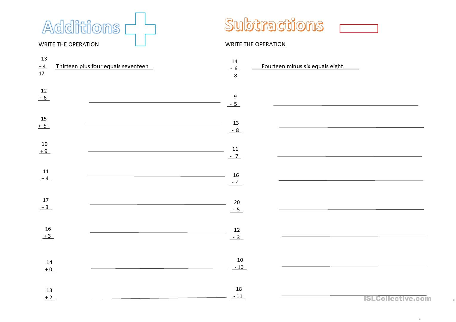 Addition And Subtraction English Esl Worksheets For Distance Learning And Physical Classrooms [ 1080 x 1527 Pixel ]