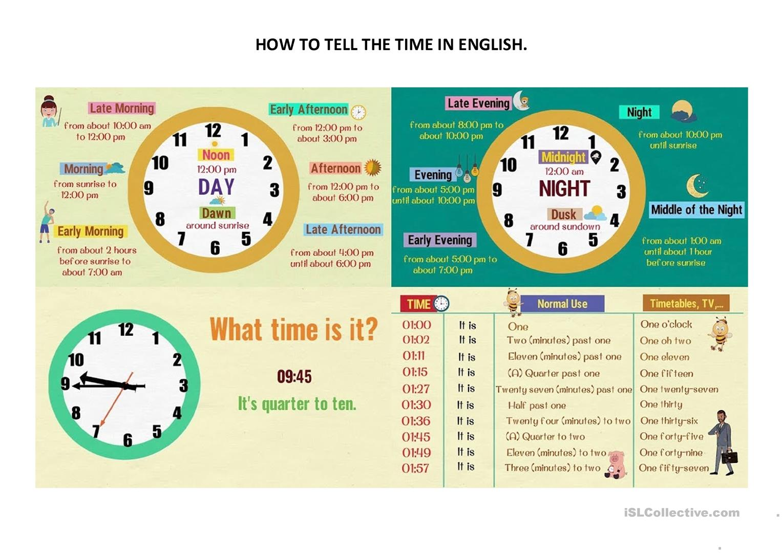 how to tell the time in English.   English ESL Worksheets for ...