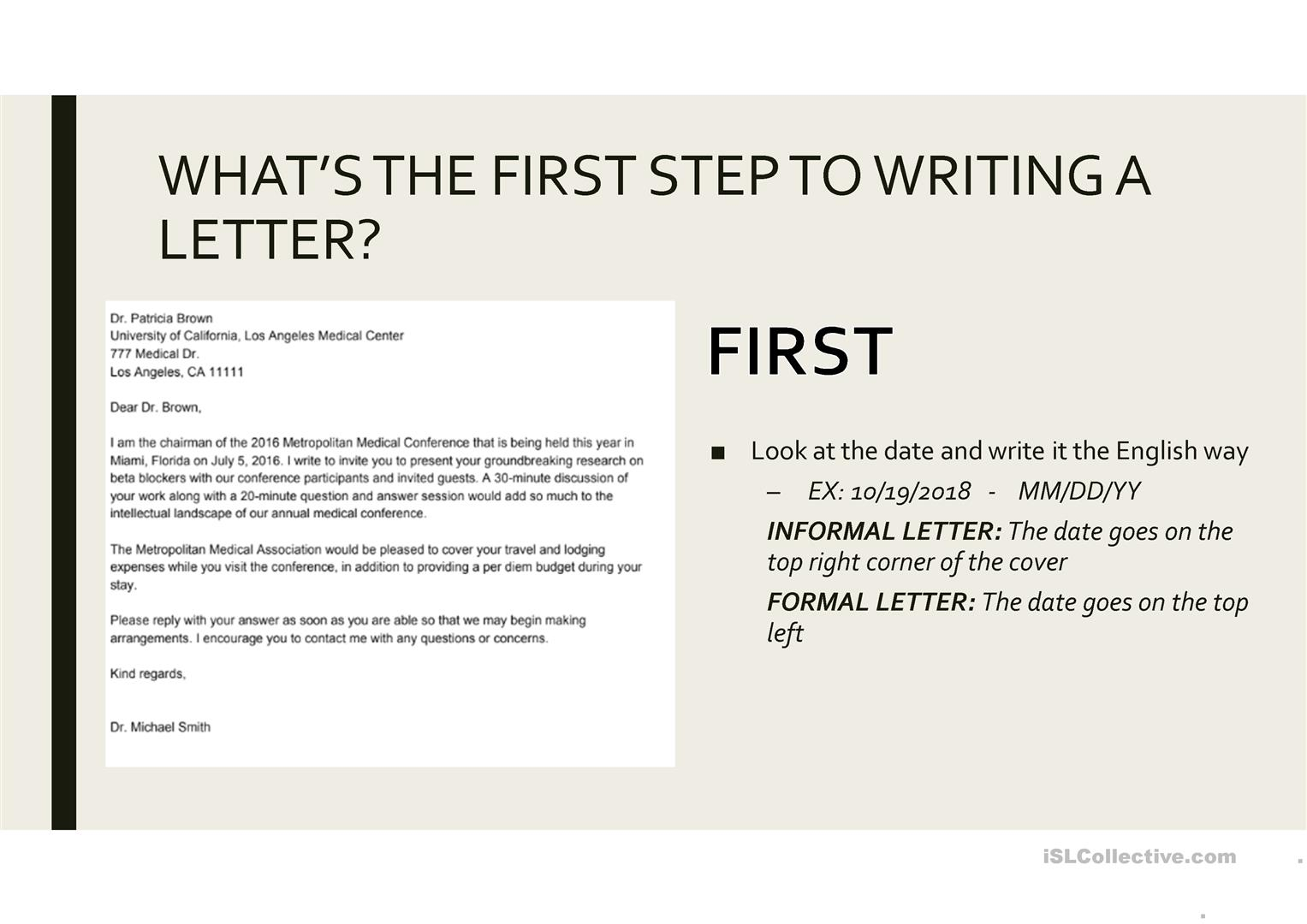 How to write a letter - English ESL Powerpoints