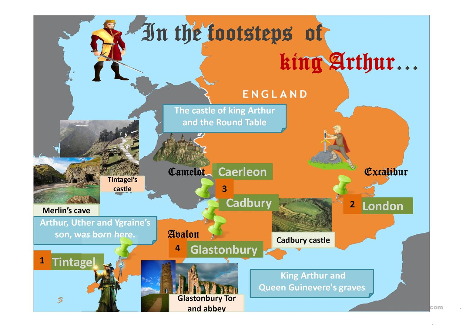 Map Of England King Arthur.Map In The Footsteps Of King Arthur English Esl Powerpoints