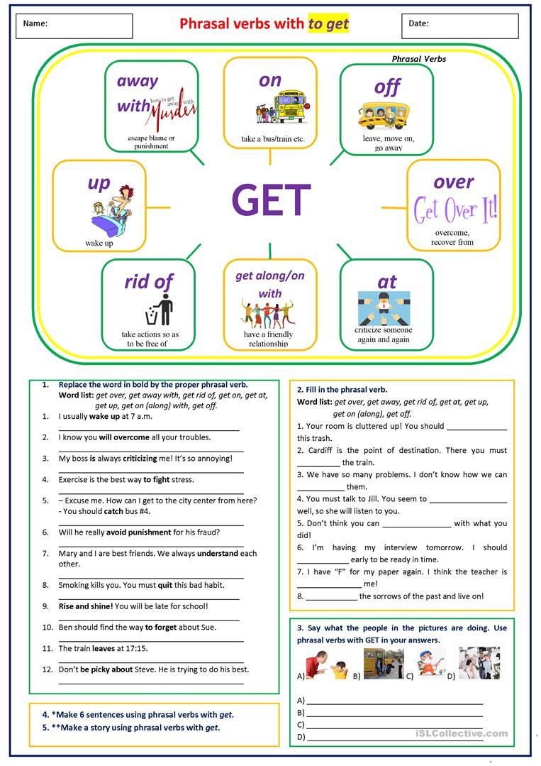 Phrasal verbs with GET - English ESL Worksheets