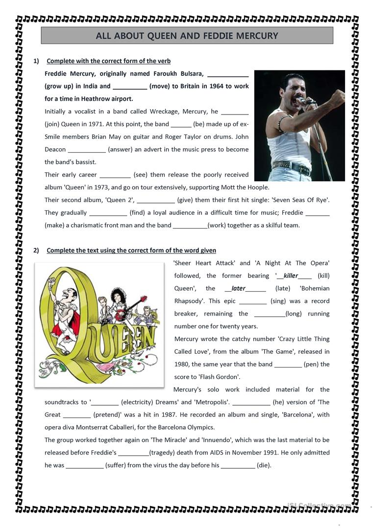 - QUEEN Reading Comprehension Exercises - English ESL Worksheets For