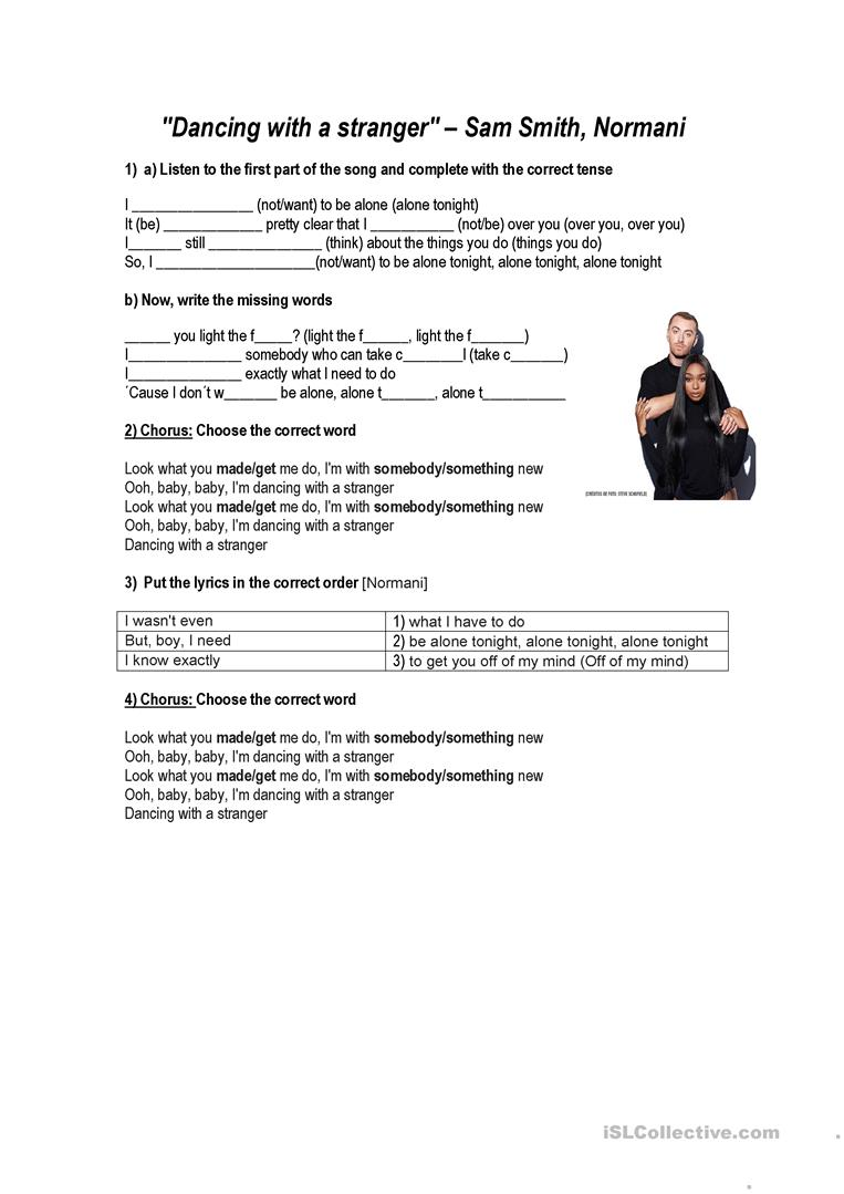 Song- dancing with a stranger Sam Smith - English ESL Worksheets