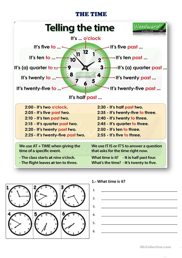 Telling the time & School subjects   English ESL Worksheets for ...