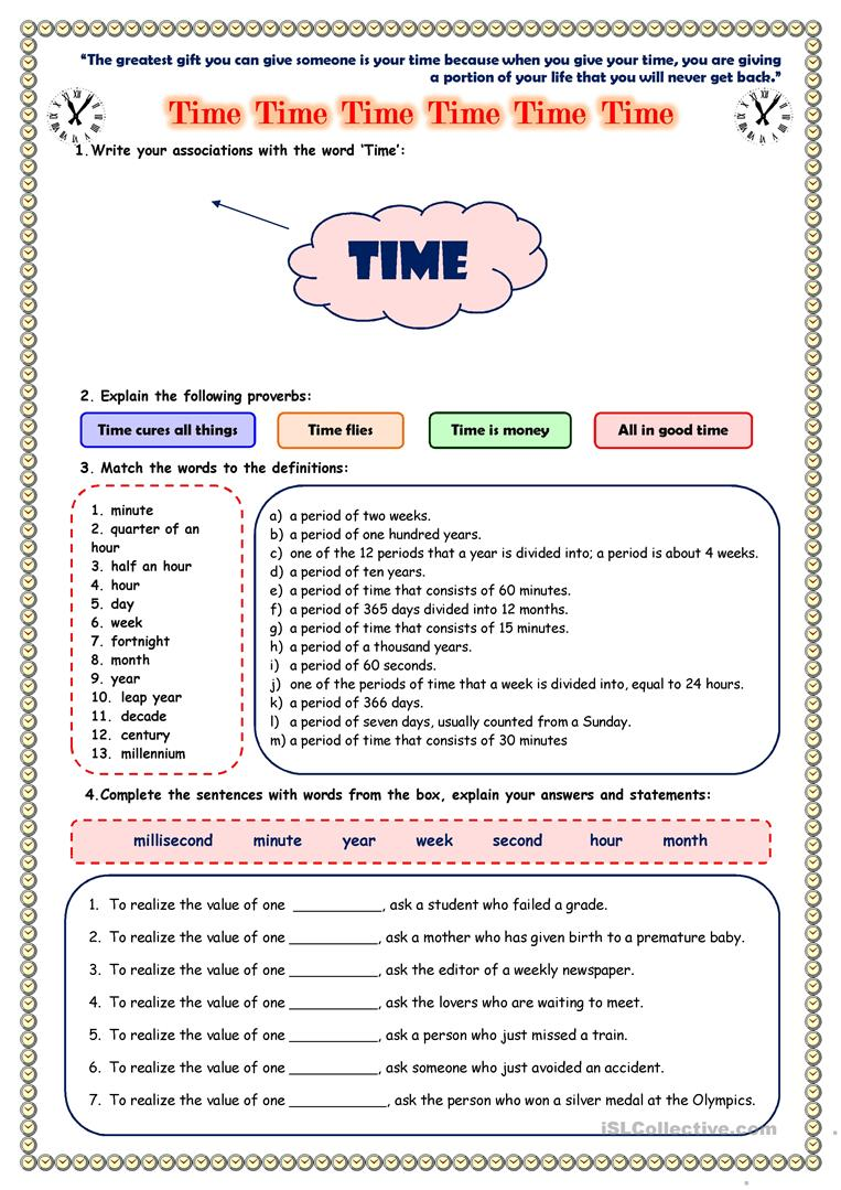 - Time Worksheet - English ESL Worksheets For Distance Learning And