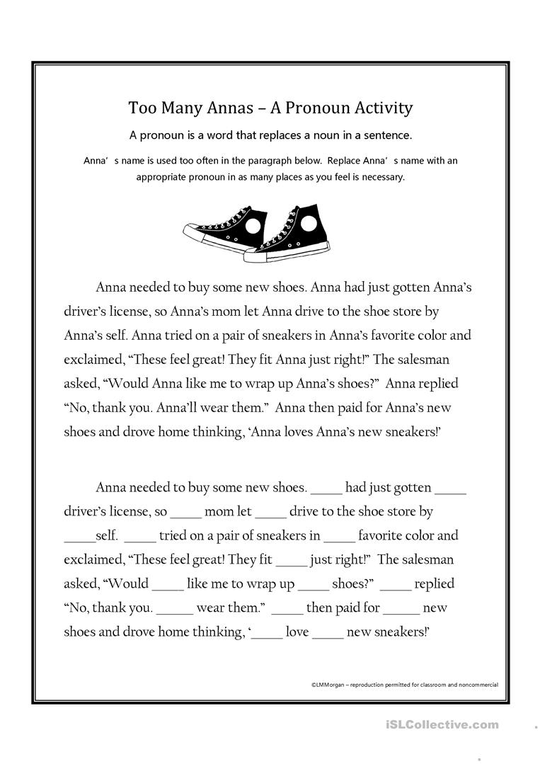 Too Many Annas - A Pronoun Activity - English ESL Worksheets for Throughout To Too Two Worksheet