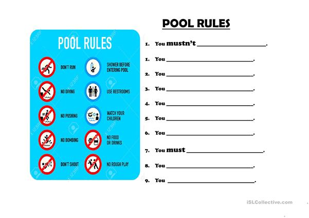 Must Mustn't Swimming Pool Rules