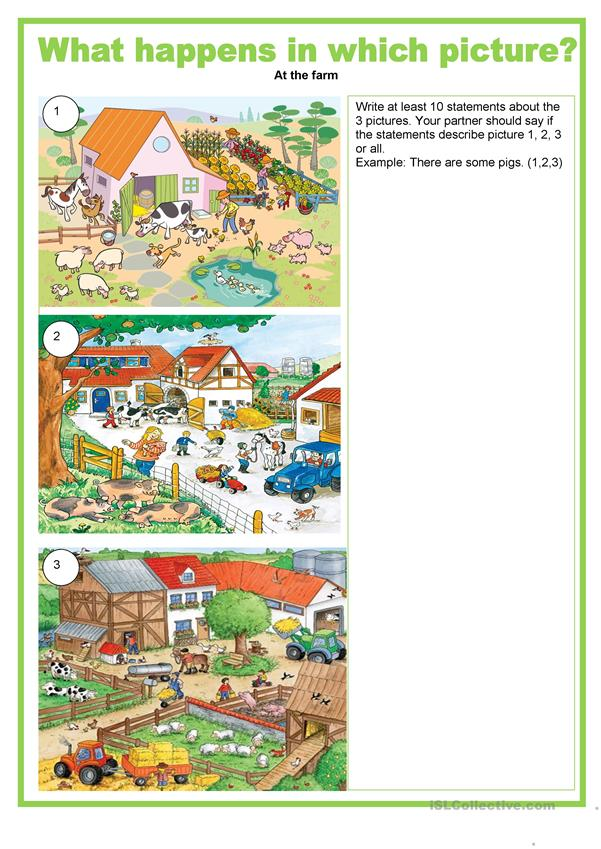 Picture description - What happens in which picture - at the farm