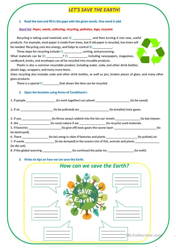 let 39 s save the earth worksheet free esl printable worksheets made by teachers. Black Bedroom Furniture Sets. Home Design Ideas