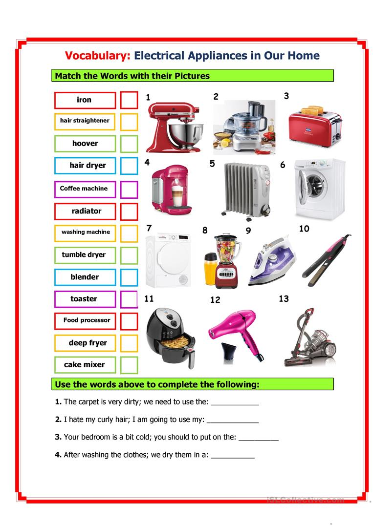 Electrical Appliances In Our Home English Esl Worksheets