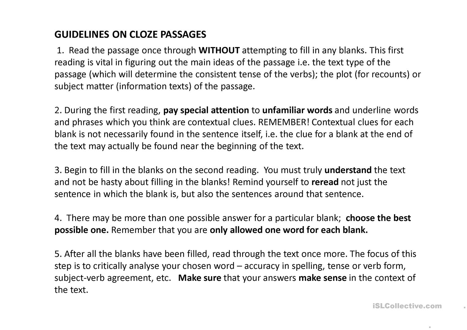 Guidelines on cloze passage - English ESL Powerpoints