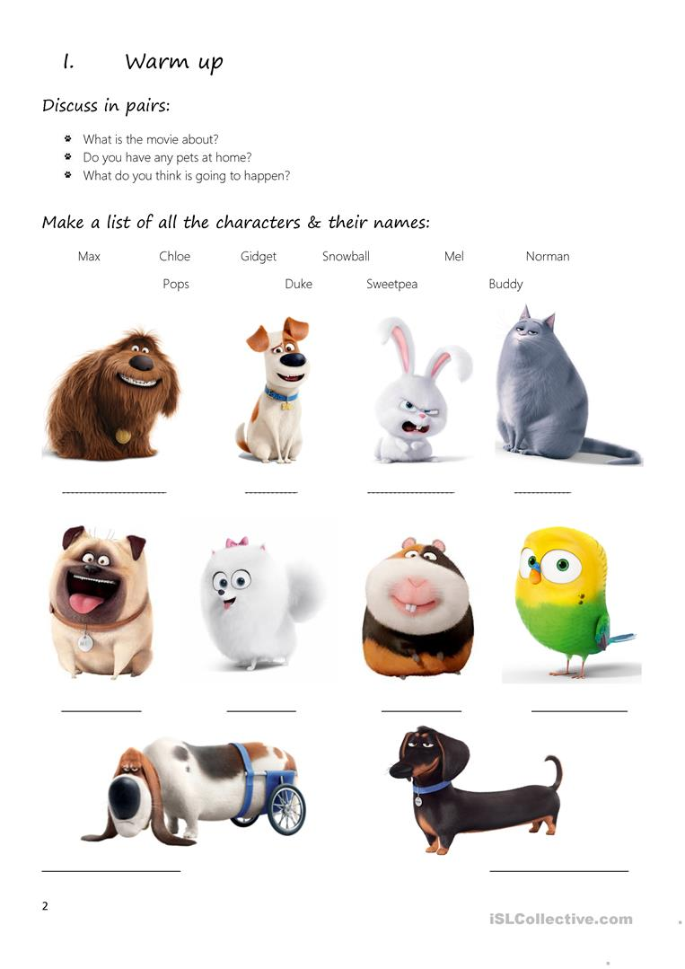 Movie The Secret Life Of Pets English Esl Worksheets For Distance Learning And Physical Classrooms