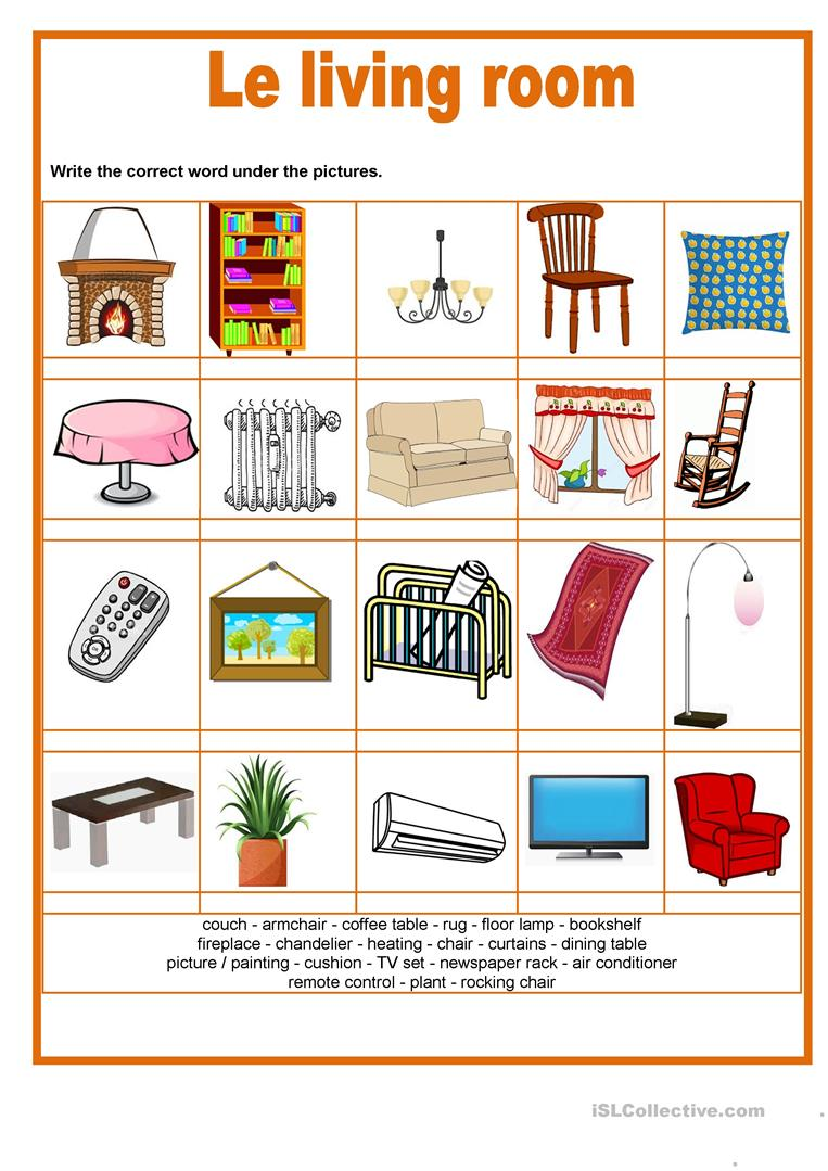 Picture dictionary - The living room - English ESL Worksheets