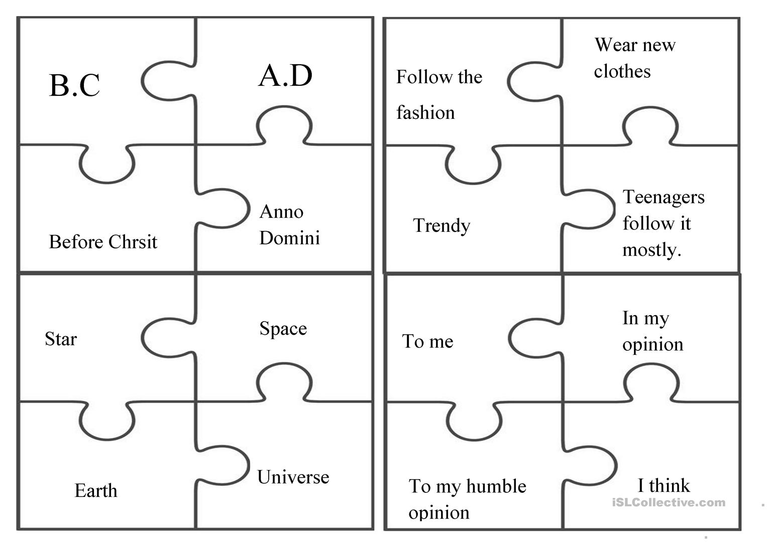 - Puzzle / Fun / Group Activity - English ESL Worksheets For