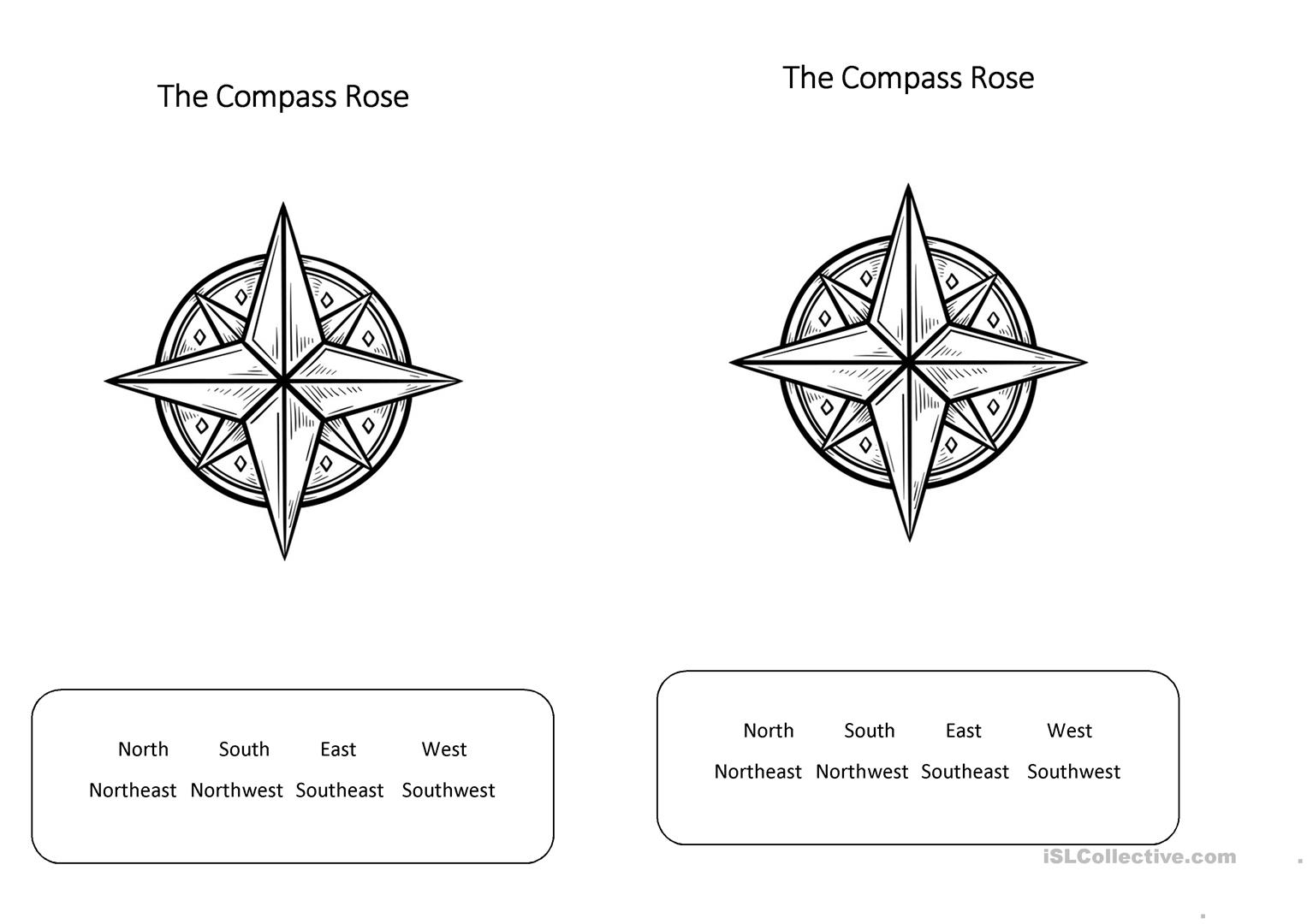 The Compass Rose English Esl Worksheets