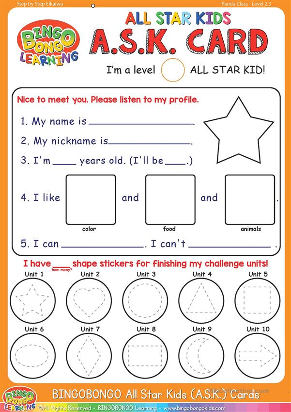 Orange A.S.K. Self-Introduction and profile card