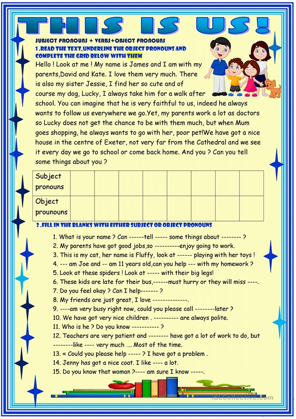 This is us! object pronouns - English ESL Worksheets for