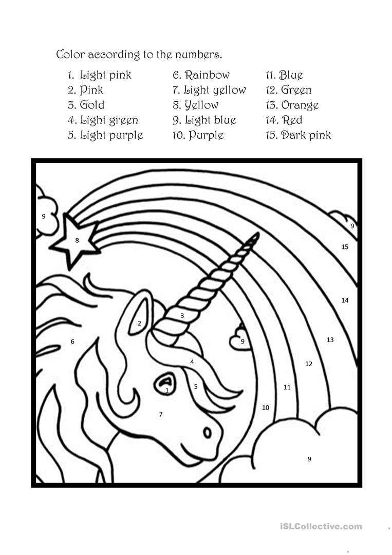Color the unicorn according to the numbers - English ESL