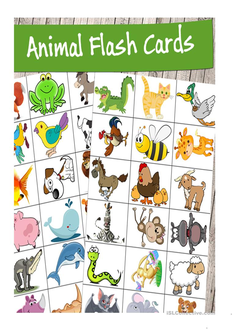 photo relating to Animal Cards Printable called Superior Excellent Printable Animal Flash Playing cards - English ESL