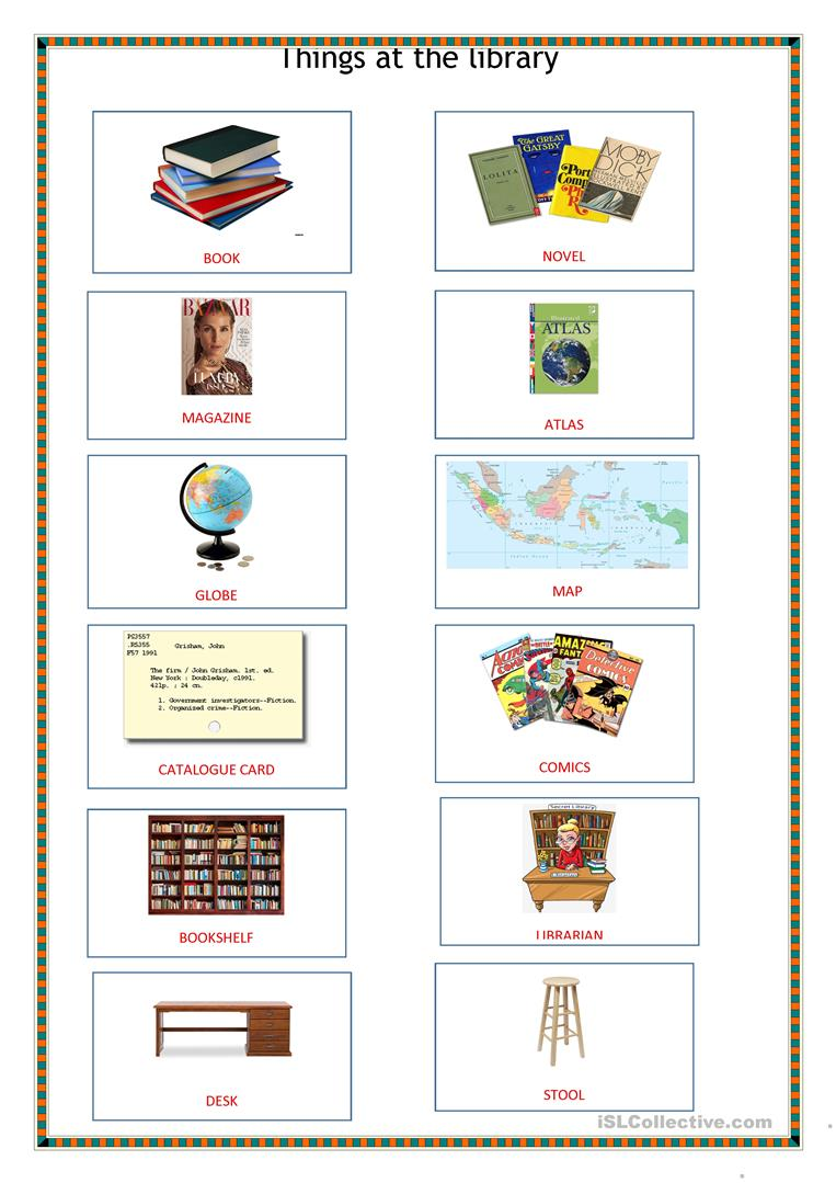 Things at the library pictionary - English ESL Worksheets