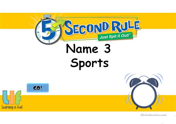 5 second rule - Vocabulary game