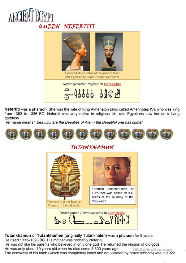 Ancient Egypt - Pharaohs Nefertiti and Tutankhamun (1 page)