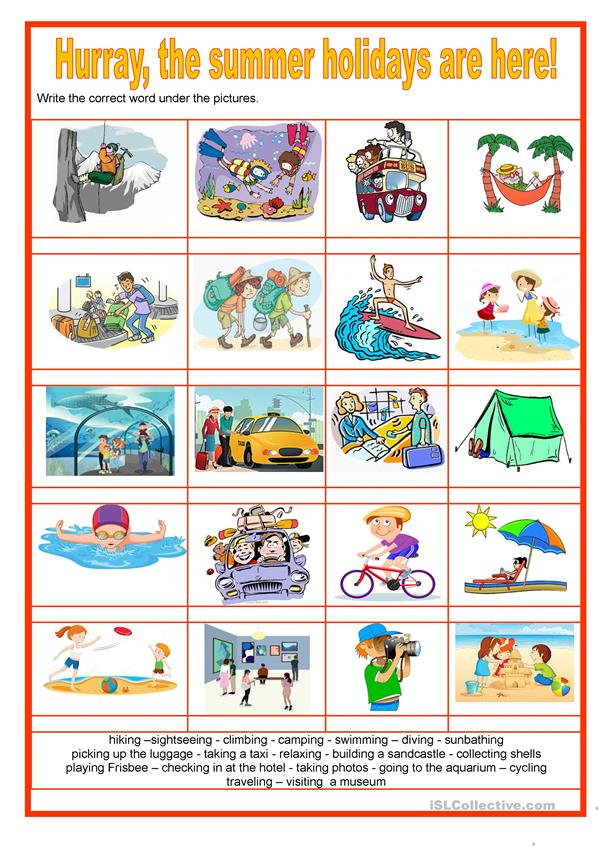 Picture dictionary -  Hurray, the summer holidays are here! - Activities