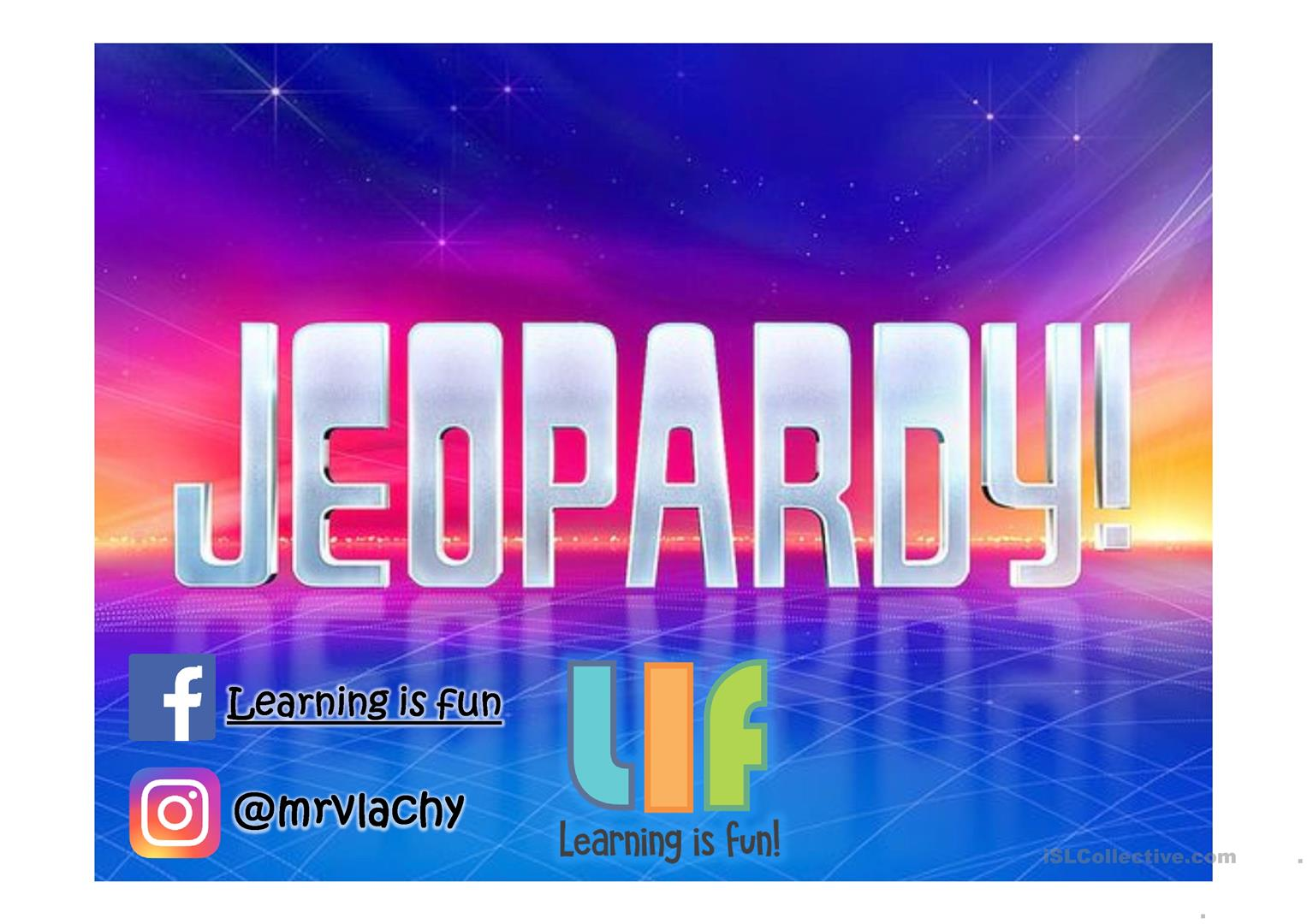 Jeopardy review game worksheet - Free ESL projectable worksheets