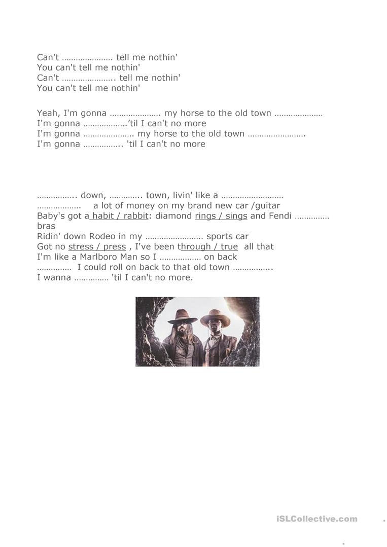 Old Town Road Worksheet English Esl Worksheets For Distance Learning And Physical Classrooms
