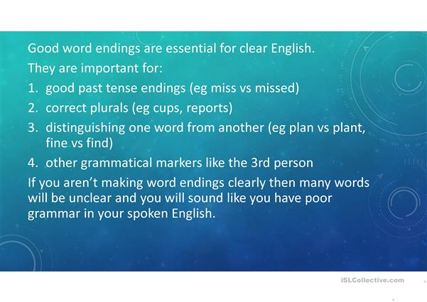 Pronunciation of Word Endings T Sound