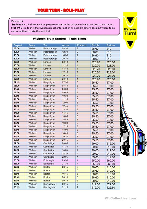 Train Timetable Activity - Grammar practice and Role-play