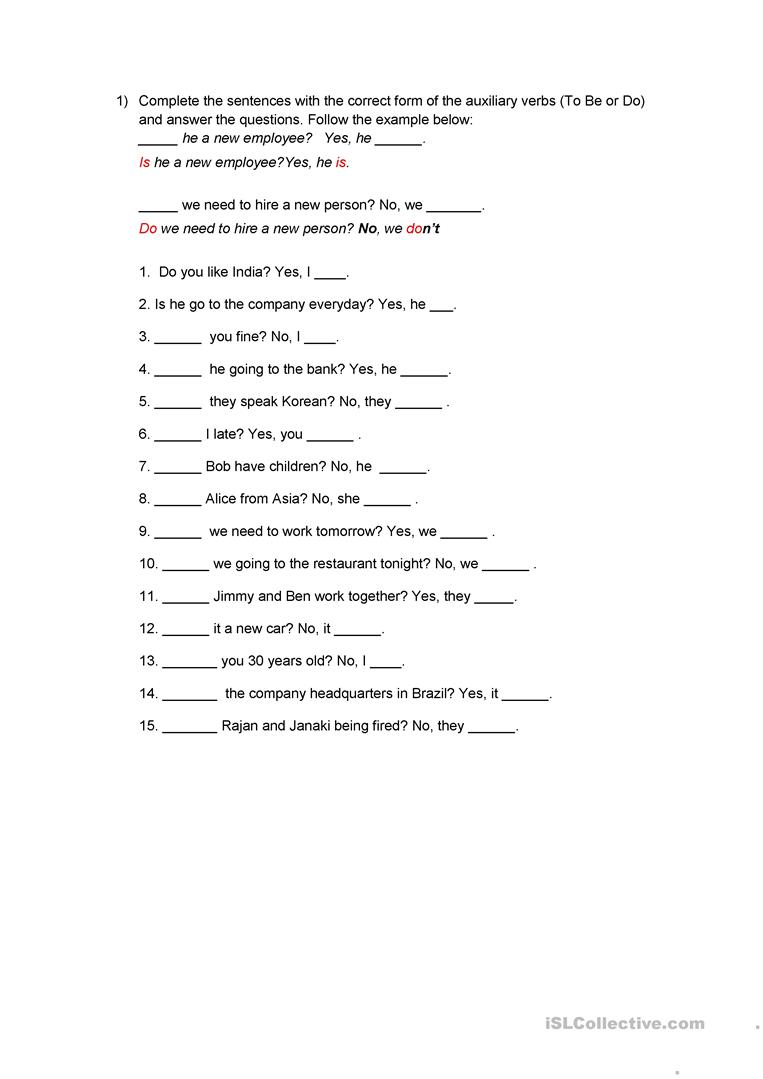 Auxiliary Verbs exercises - To be X Do/Does - English ESL ...