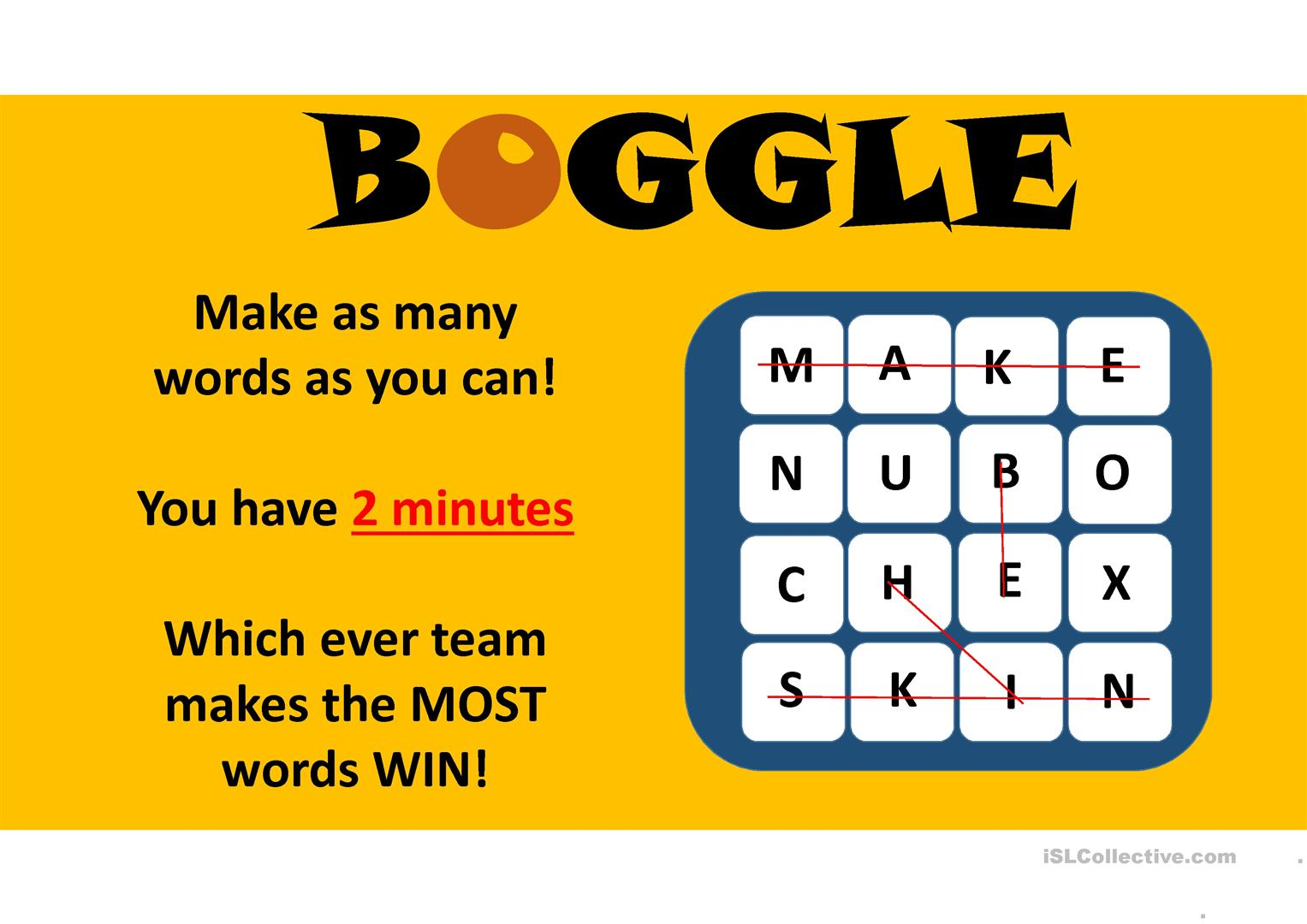 photograph about Boggle Printable identified as Boggle Match - English ESL Powerpoints