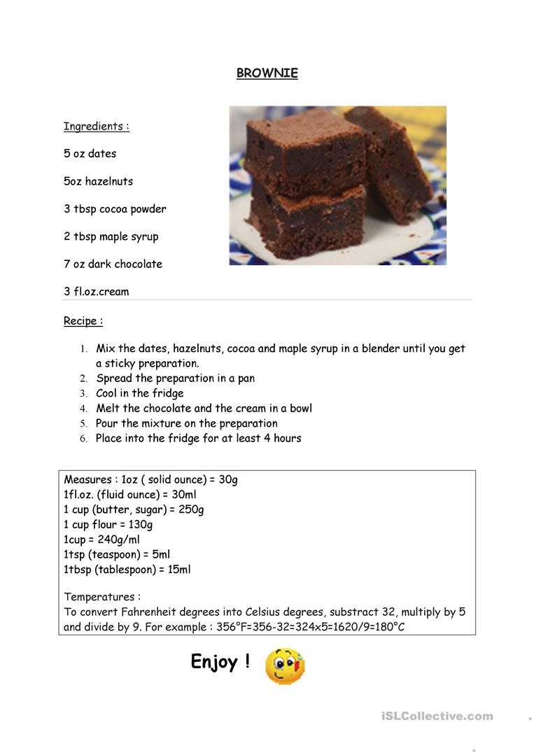 Brownie recipe - English ESL Worksheets