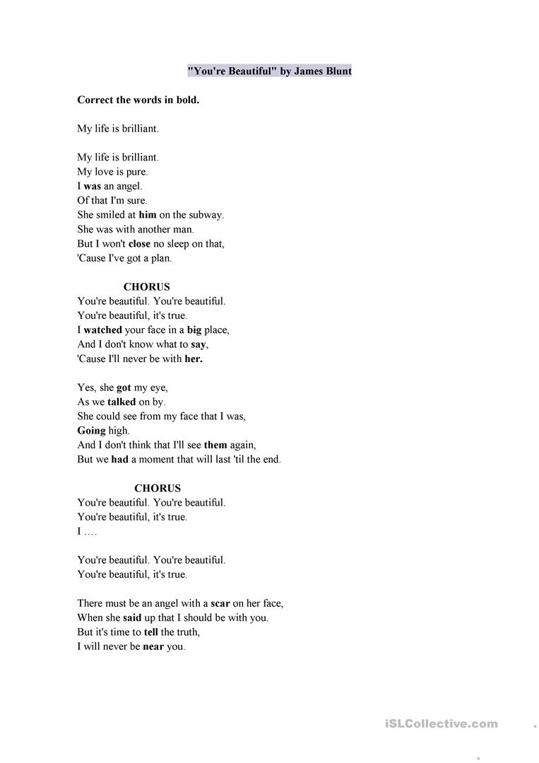 Song You're Beautiful - English ESL Worksheets