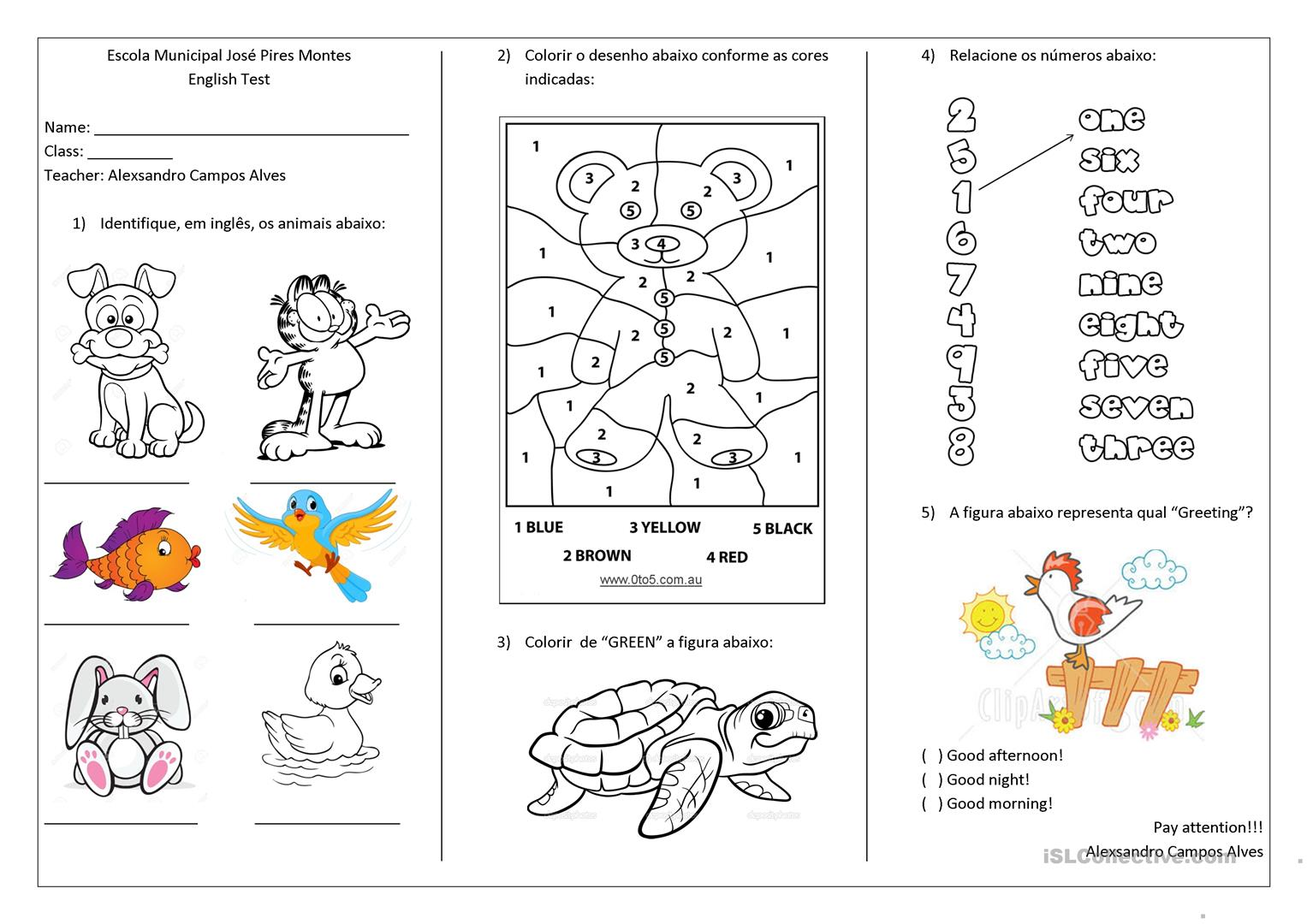 Tests for first and second grade - English ESL Worksheets