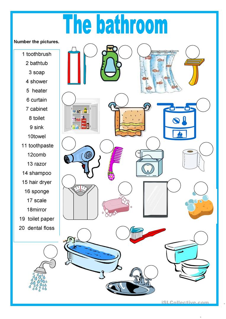 The bathroom - English ESL Worksheets for distance learning and physical  classrooms