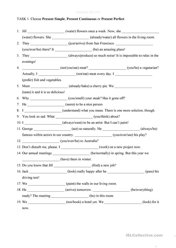 Present Simple, Present Continuous, Present Perfect. - English ESL  Worksheets For Distance Learning And Physical Classrooms