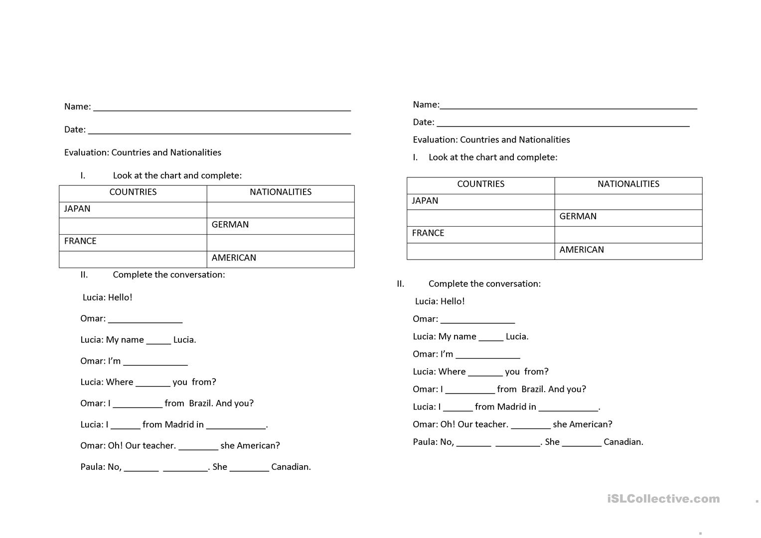countries and nationalities - English ESL Worksheets