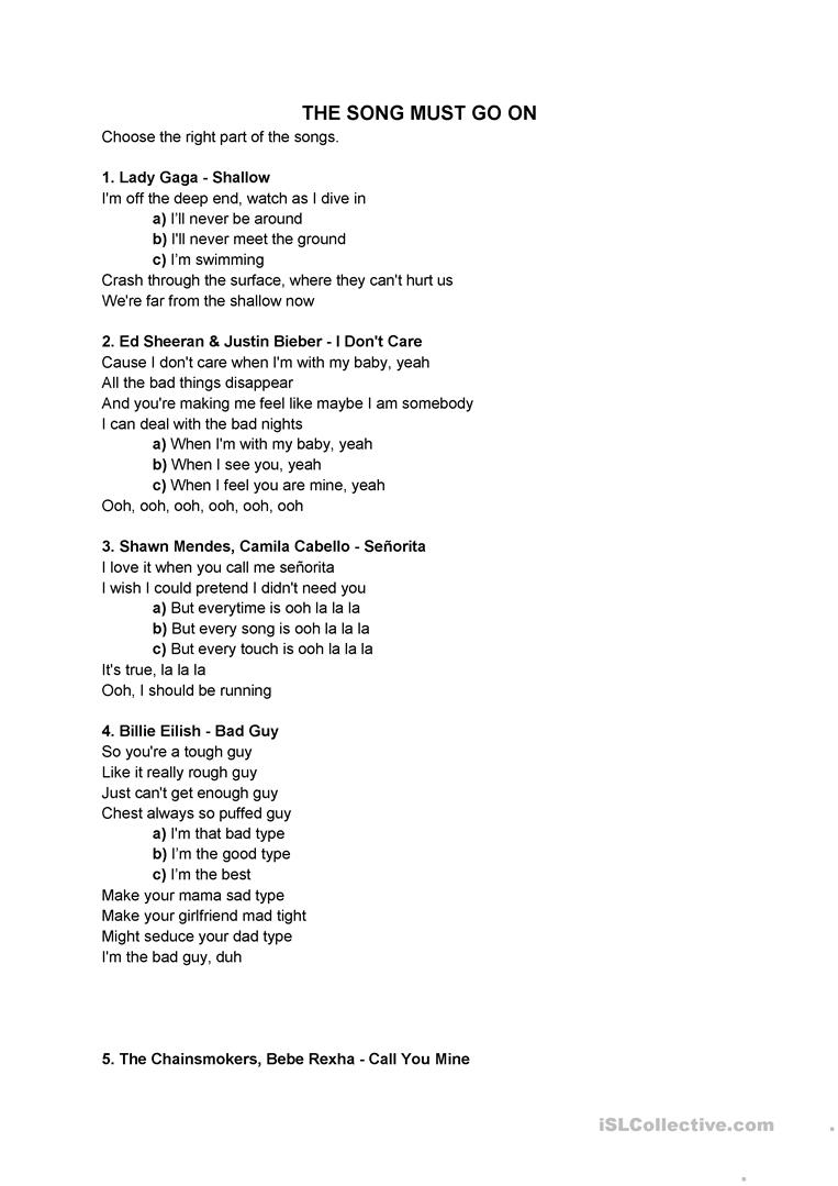 The song must go on - English ESL Worksheets