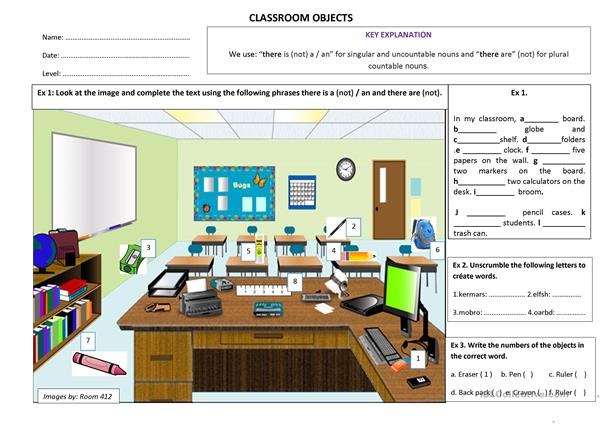 Classroom Objects (There is (not) a/an and there are (not))