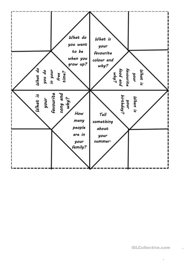 Cootie-catcher Back to school