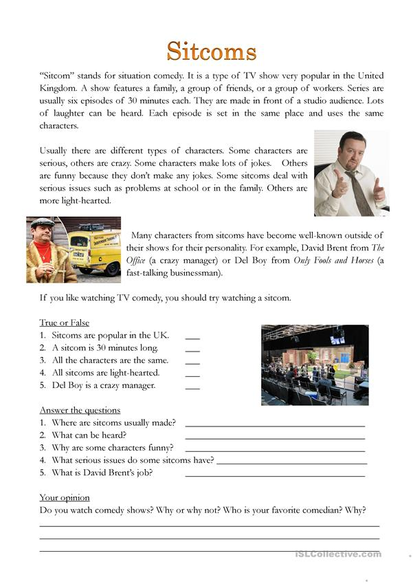 British Sitcoms reading and writing worksheet - English ESL