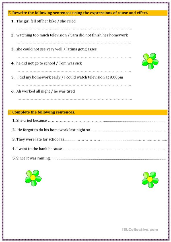 Cause And Effect - English ESL Worksheets For Distance Learning And  Physical Classrooms